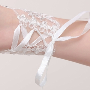 المرأة أصابع الزفاف قفازات أنيقة قصيرة الفقرة حجر الراين الأبيض الدانتيل قفاز الزفاف اكسسوارات