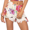 SH88  Women's Floral Print Poplin Lace Pom-Pom Ruffles Bohemia Shorts Beach Party 2016 New Size S-L Free Shipping