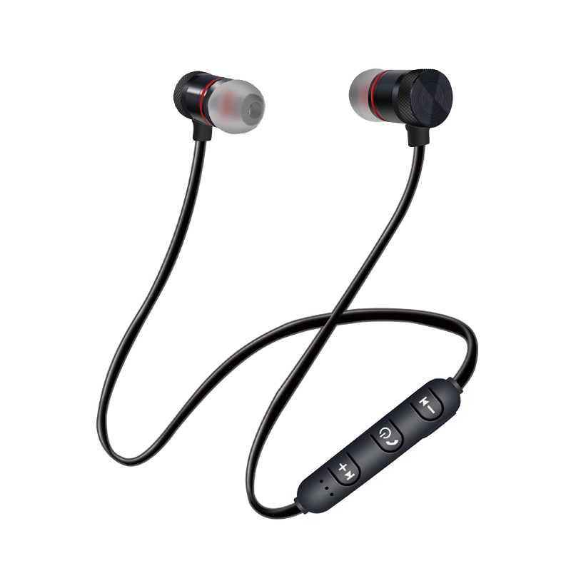 سماعة بلوتوث لاسلكية الرياضة تشغيل ستيريو المغناطيس سماعات الأذن مع الميكروفون المغناطيس سماعة معدنية سماعة رأس لهاتف آيفون