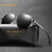MYMARCH Fashion Mens Polarized Sunglasses Square Aluminum Magnesium Sun Glasses Retro Classic Driving UV400 Protection
