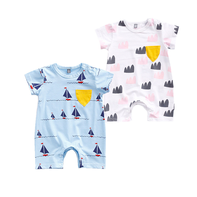 Summer Baby Rompers Blue Overalls Newborn Clothes Girl Boy Romper Summer 2017 New Cotton Jumpsuit Sailing Printed Infant Clothes summer newborn baby rompers ruffle baby girl clothes princess baby girls romper with headband costume overalls baby clothes