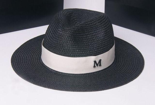 3cfdc76dd6f4a Marca Diseño Letra M Negro de Ala Ancha Del Sombrero de Paja Flojo Jazz  Beach Sun
