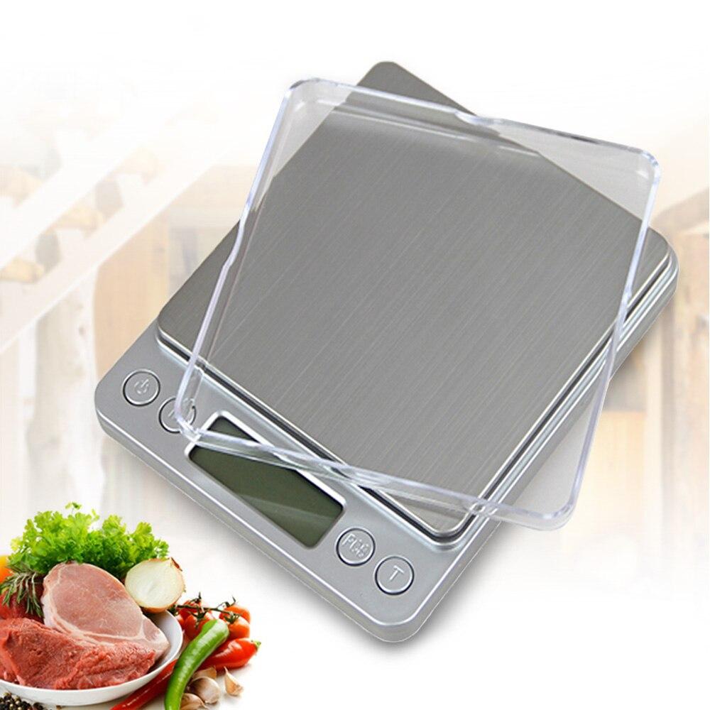 0,01g x 500g portátil Mini Balanza de alimentos electrónicos caja de bolsillo cocina Postal joyería peso balanza Digital con 2 bandejas