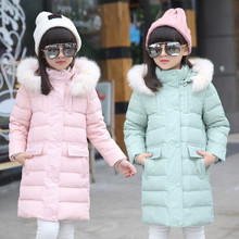 2016 девушки пуховики белая утка вниз зима сгущает капюшоном меховым воротником девушки длинные пальто куртки верхняя одежда для детей куртка пальто