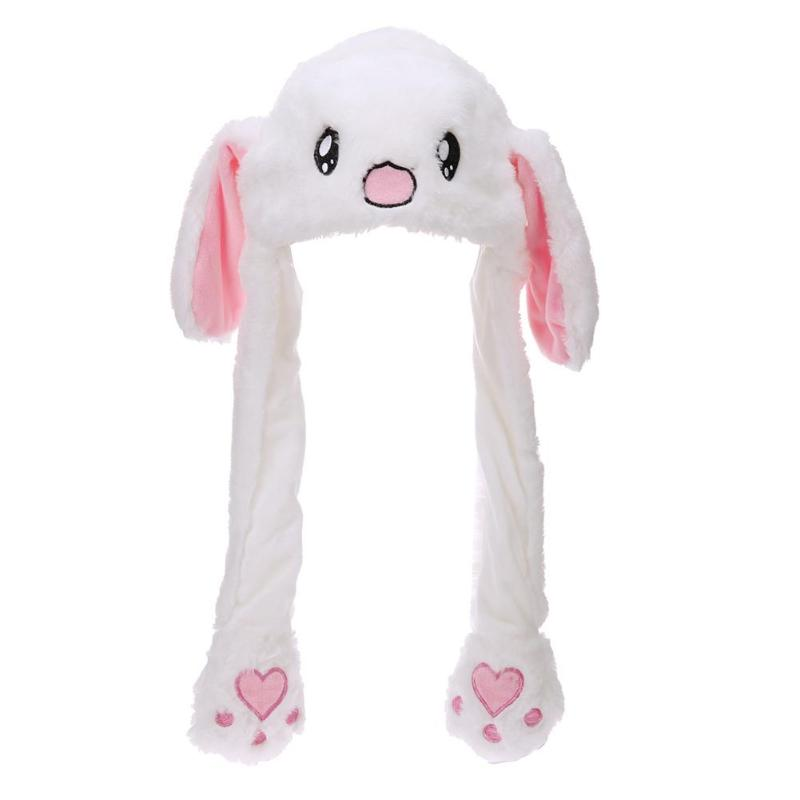 Cute Baby Kids Plush Moving Ears Rabbit Hats Soft Animals Shape Lovely Cartoon Hats Adults Pinching Ear Hat Gifts Kid's Party