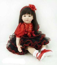 22 inch 55 cm Silicone baby reborn dolls,   princess gift brinquedos  Children's toys Beautiful long hair girls holiday gift