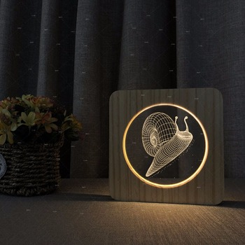 Cartoon Snail design wooden acryliy nightlights for kids home decor gift for child birthday