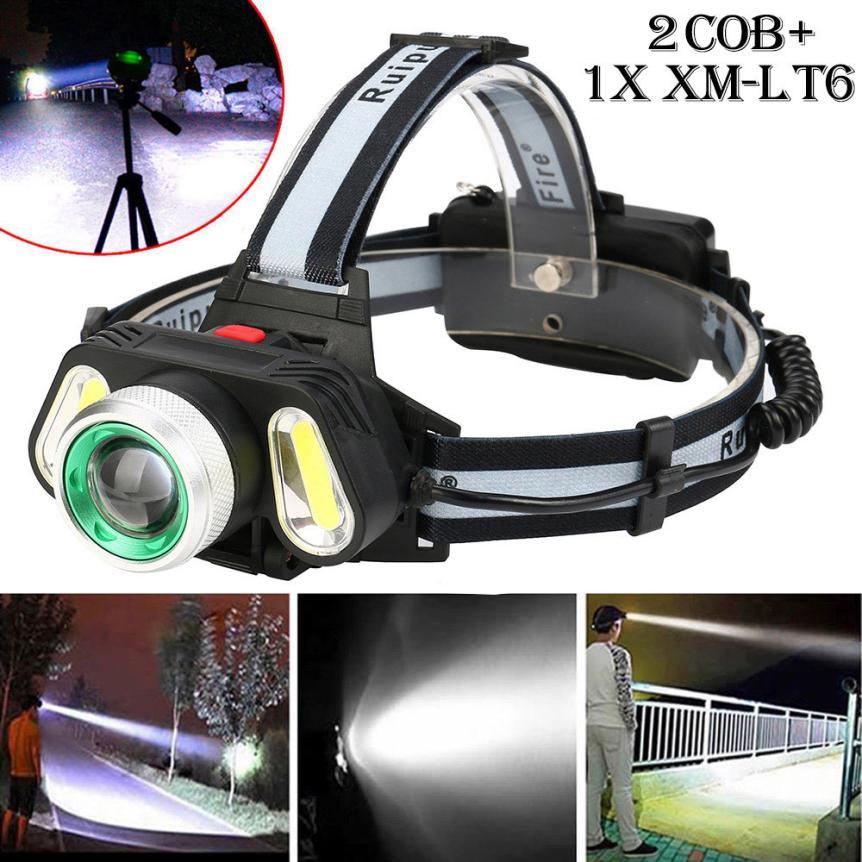 15000LM 1x XM-L T6 LED +2xCOB Rechargeable 18650 Headlamp Head Light Torch Outdoor Bicycle Bike Accessories Top Quality Jan 2 950lm 3 mode white bicycle headlamp w cree xm l t6 black silver 2 x 18650