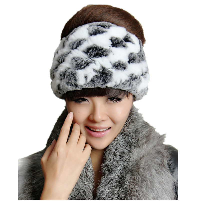 Real rex rabbit fur hair band hats natural rex rabbit fur womens hat,knitted warm gray white red brown scarf H68