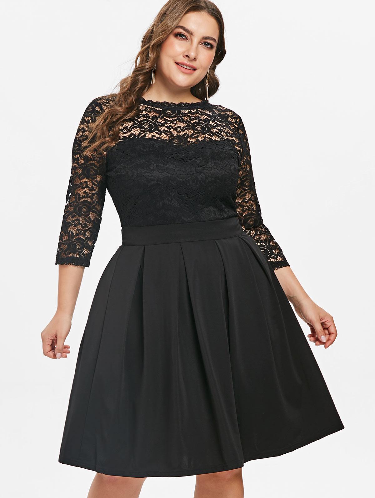 a3d97d82cc Wipalo Women Plus Size 5XL Round Neck Lace Panel A Line Dress Knee-Length  Solid Female Party Dress OL Dress Casual Vestidos