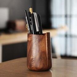 Portalápices de madera de nogal negro Ceative, forma Irregular, organizador de escritorio multifunción, caja de almacenamiento, arte para el hogar