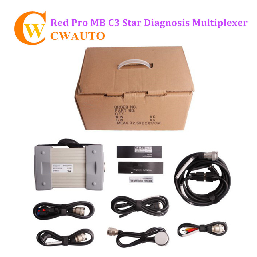 New MB Étoile C3 Pro Rouge Étoile De Diagnostic Multiplexeur avec sept Câble pour Voitures et Camions sans Logiciel HDD Livraison gratuite