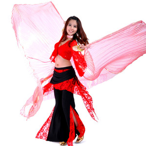 Image 2 - High quality Wholesale belly dance wing Women Belly Dance Translucent Wing Girls isis Wing Dance For Props Lady Dance Clothe