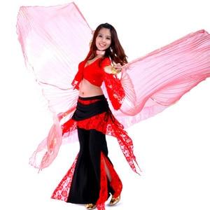 Image 2 - คุณภาพสูงขายส่ง belly dance ผู้หญิง Belly Dance โปร่งแสงปีกหญิง isis ปีก Dance สำหรับ Props Lady Dance ผ้า