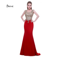 Noble Prom Dresses New Fashion with O-neck Sleeveless Appliques Stone Red Mermaid Formal Evening Dresses Vestido de Feasta