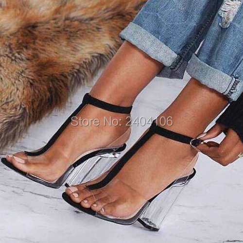 93af75ecfc39 T-Strap Peep Toe PVC Transparent Summer Shoes Woman 9cm Crystal High Heels  Sandalias Mujer Sexy Perspex Block Heel Clear Sandals
