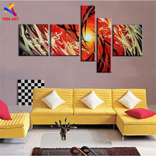 5 Panels Canvas Set Red Color Handmade Abstract Oil Painting on Canvas Wall Art Gift No Framed for Living Room Decoration Z068