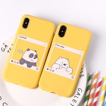 Cute Cartoon zwierząt Kawaii niedźwiedź Panda wzór żółte przypadki miękkie cukierki Case Coque dla iPhone 12 11 Pro 8 8Plus X XS Max 7 7Plus tanie tanio TOMOCOMO CN (pochodzenie) Aneks Skrzynki Fashion Solid Color Simple Style Design Case Cover Apple iphone ów Iphone 5 Iphone5c