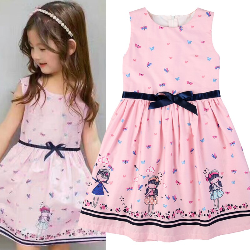 Summer Girls Toddler Kids Baby Girls Dress Cartoon Sleeveless Dress Lovely Dresses