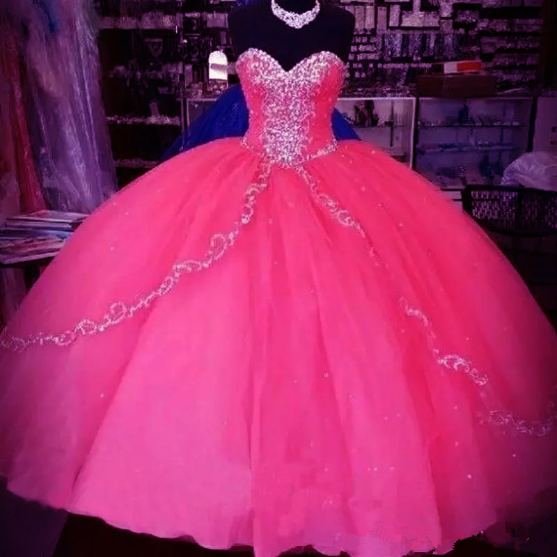 c8b1d718d2 2019 Sexy Vintage Water Melon Quinceanera Gowns Sweetheart Crystal Beads  Long Masquerade Sweet 16 Prom Party Gown -in Quinceanera Dresses from  Weddings ...