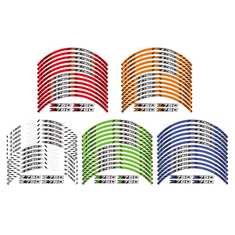 For ALL kawasaki Z750 12 X Thick Edge Outer Rim Sticker Stripe Wheel Decals For ALL kawasaki Z750 12 X Thick Edge Outer Rim Sticker Stripe Wheel Decals