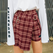 Spring Autumn Women's Woolen Shorts Skirt Sashes Mini Plaid Slim England Style Empire