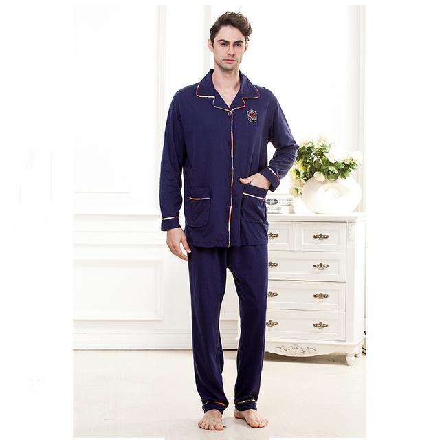 Conjuntos de pijama dos homens 2016 outono/inverno masculino sleepwear calças de comprimento de manga longa de algodão set lounge cardigan plus size