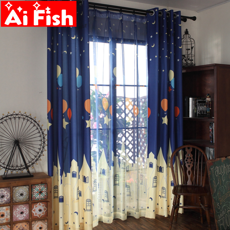 Cartoon Print Colorful Balloon Star Castle Window Curtains For Children Bedroom Shading Drapes Curtain For Living Room AF016-30