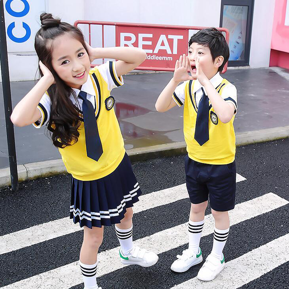 Colors Children Cotton Korean Japanese Student School Uniforms Girls Boys Kid Collar Shirt Top Pleated Skirt Shorts Tie Outfits cynthia cee c nwadiora