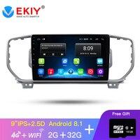 EKIY 9'' IPSAndroid Car DVD GPS Multimedia Player Car Radio Stereo For Kia Sportage KX5 2016 2018 GPS Navigation With4G Modem