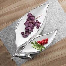 Двойной лист Фруктовая тарелка творчество конфеты и сухофрукты тарелка современная простая гостиная чайный стол для ресторанов, из керамики украшения