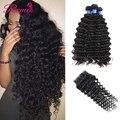 7A Brazilian Virgin Hair With Closure Deep Wave Cheap Human Hair 3 Bundles With Closure Brazilian Curly Virgin Hair With Closure