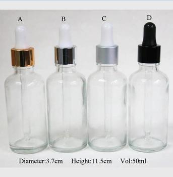 wholesale 100pcs 50ml Clear Glass Dropper Bottle,1.67oz Clear Bottle, 50 ml Empty Glass Dropper Bottles wholesale