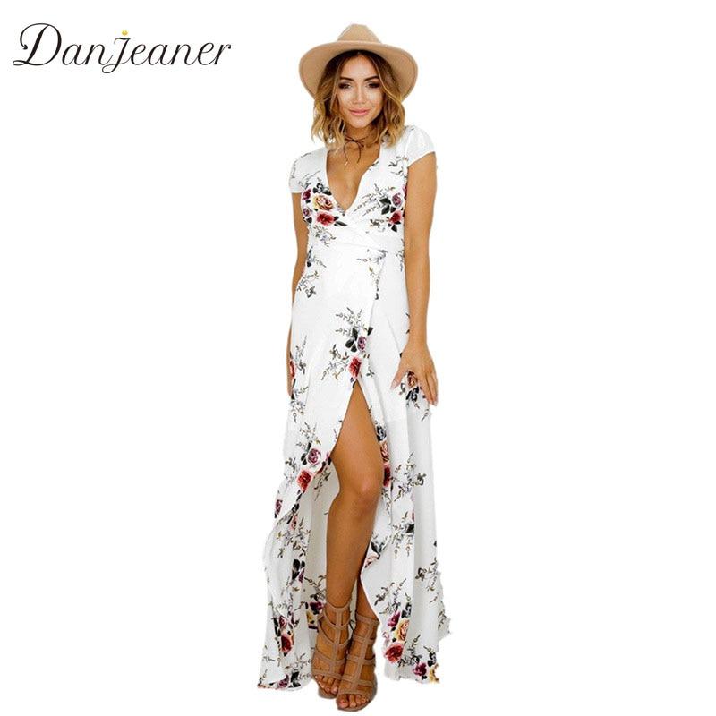 Danjeaner جديد الأزهار طباعة الشيفون فساتين طويلة المرأة حزام الخامس الرقبة سبليت شاطئ الصيف فستان مثير أنيقة يتأهل ماكسي vestidos
