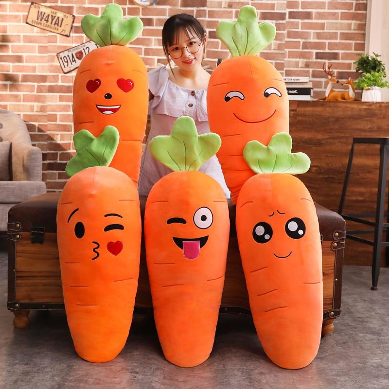 45/50/65/90cm Cartoon Smile Carrot Plush toy Cute Simulation Vegetable Carrot Pillow Dolls Stuffed Soft Toys for Children Gift