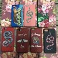 Abelha tigre bordado logotipo da marca case flor impresso cobras phone case para iphone 7 plus 6 6 s plus couro da pele rígido de volta cobrir