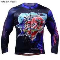 Man Cycling Jackets Clothing Dragon Printing Tights Fitness Skin Compresshion Jersey Long Sleeve Training Sports Clothing