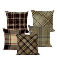 Fashion Geometric Lattice Pattern Cushion Cover Antique Grey Flax Cotton Pillow Cover Home Decoration Pillow Cover 45x45cm недорого