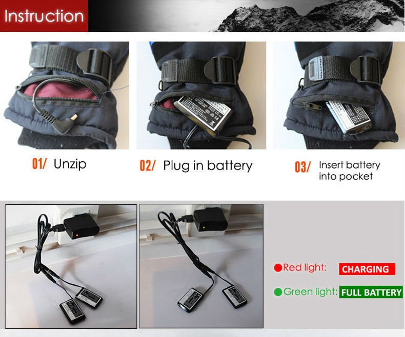 3.7V Outdoor Sports Fun Electric Heated Gloves