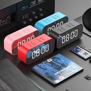 Image 5 - LED Spiegel Klok Kids Wekker LED Night Bureau Digitale Klok Met Draadloze Bluetooth Speaker Ondersteuning AUX TF USB Muziek speler