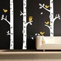 W207 Grandes Pájaros de los Árboles de Abedul Bosque Búho Pared de Vinilo Sticker Decal Niños Bebé Nursery Decor 209*250 cm