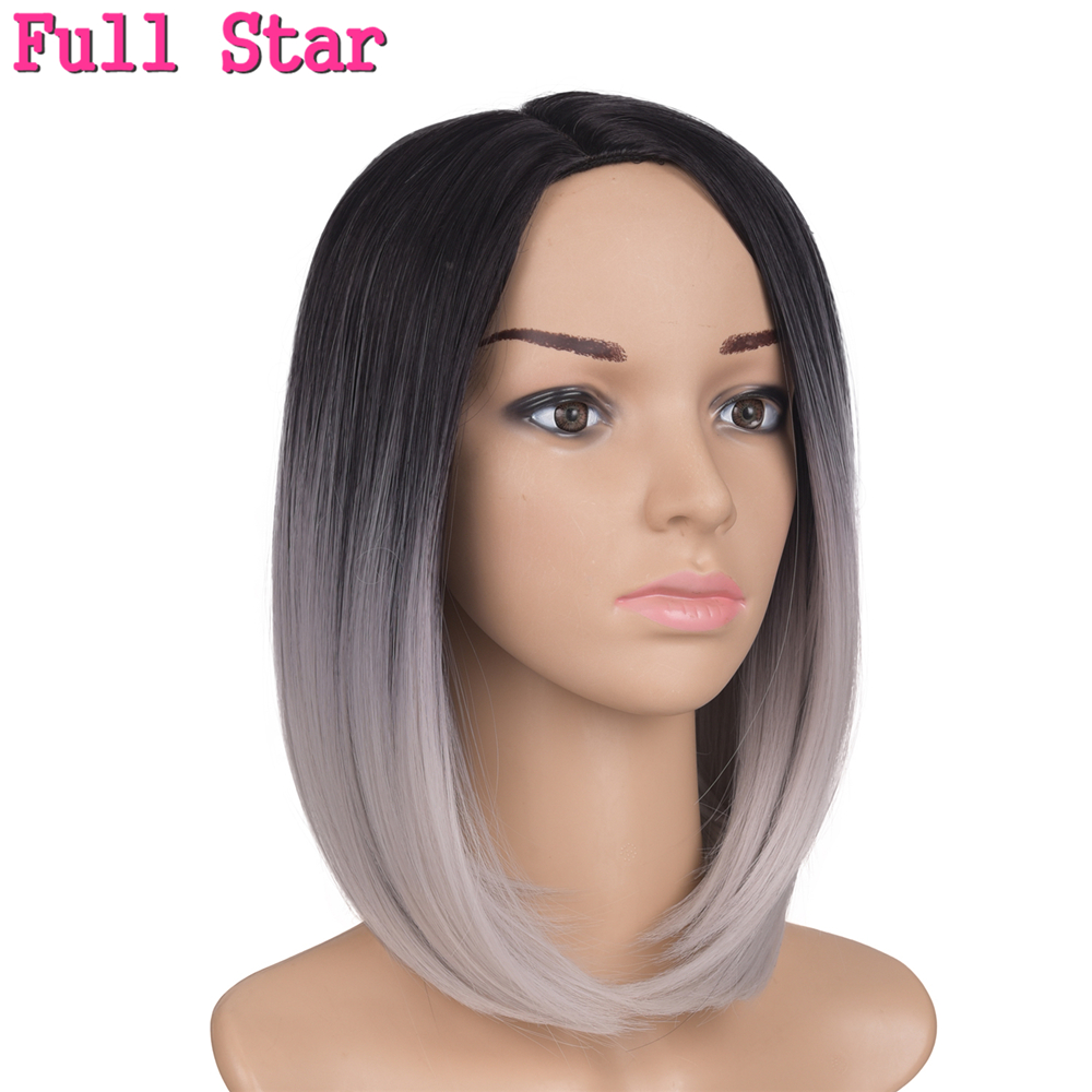 Full Star Grey Bob 160g Synthetic Wigs for Black Woman Ombre Burgundy/Blonde/Silver Short African American Bob synthetic Wig