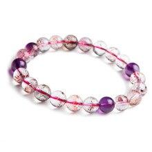 9mm Natural Super Seven Melody Stone Purple Rutilated Quartz Crystal Stretch Round Bead Bracelet цена и фото