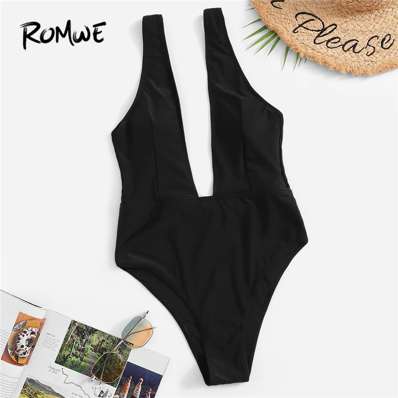 Romwe Sport V Plunge Neck One Piece Swimsuit Women Summer Beach Vacation Sexy Solid Wire Free Monokinis Swimwear 2 Colors