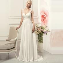 פשוט ספגטי רצועות שיפון שמלות כלה אלגנטי בוהמי אימפריה כלה שמלה לבן/שנהב Vestido דה Novia 2020