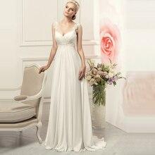 Robes de mariée en mousseline blanche/ivoire, simples, bretelles Spaghetti, robe de mariée élégante Empire bohémien, 2020