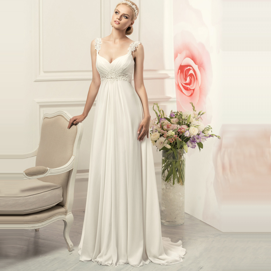 Simple Spaghetti Straps Chiffon Wedding Dresses Elegant Bohemian Empire Bridal Gown White/Ivory Vestido De Novia 2020