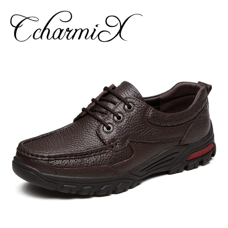 CcharmiX Genuine Leather Men s Business Shoes Large Size 38 48 Fashion Handmade Men Formal Flats