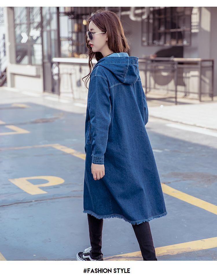 a04cf1a0979 Aliexpress.com : Buy 2018 Spring Boyfriend style Denim Trench Coat Women  Streetwear hooded tops Loose Jeans Windbreaker Outwear 031402 from Reliable  denim ...