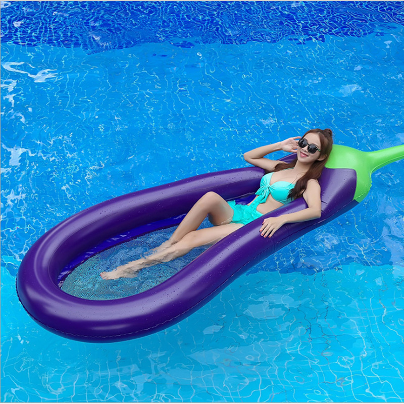 Hot Selling Environmental Protection PVC Inflatable Eggplant Floating Row Floating Bed Pool Party Water Toys